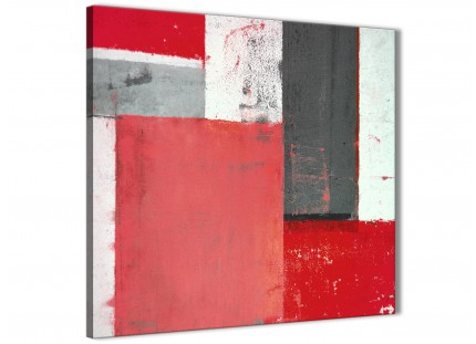 Red Grey Abstract Painting Canvas Wall Art Modern 64cm Square - 1s343m