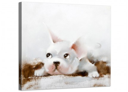 Large Nursery Childrens Bedroom French Bulldog Modern Canvas Art - 48cm - 1s251m