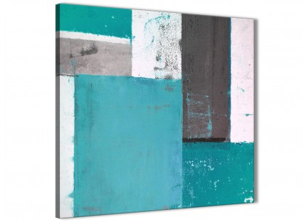 Teal Grey Abstract Painting Canvas Wall Art Modern 49cm Square - 1s344s