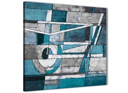 Teal Grey Painting Abstract Dining Room Canvas Pictures Accessories 1s402l - 79cm Square Print