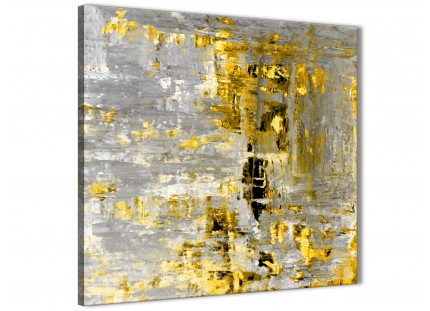 Yellow Abstract Painting Wall Art Print Canvas - Modern 49cm Square - 1s357s