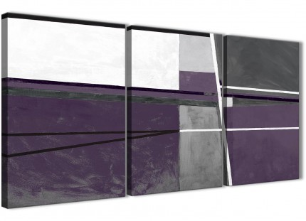 3 Piece Aubergine Grey Painting Dining Room Canvas Pictures Decor - Abstract 3392 - 126cm Set of Prints