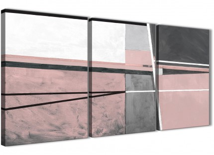 3 Piece Blush Pink Grey Painting Office Canvas Wall Art Decor - Abstract 3393 - 126cm Set of Prints