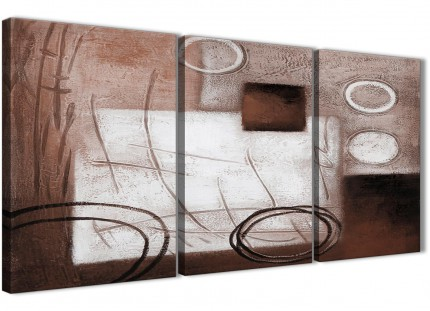 3 Panel Brown White Painting Dining Room Canvas Wall Art Decor - Abstract 3422 - 126cm Set of Prints