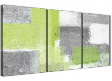 3 Piece Lime Green Grey Kitchen Canvas Wall Art Accessories - Abstract 3369 - 126cm Set of Prints
