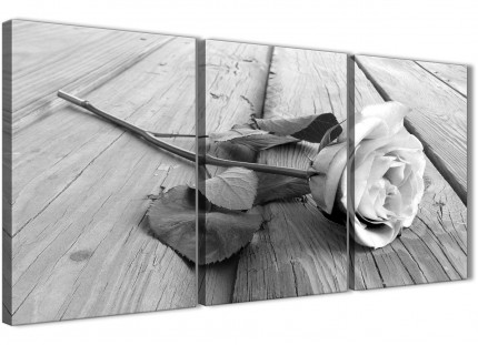 3 Piece Black White Rose Floral Living Room Canvas Pictures Decor - 3372 - 126cm Set of Prints