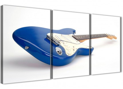 3 Panel Blue White Fender Electric Guitar - Hallway Canvas Pictures Decor - 3447 - 126cm Set of Prints