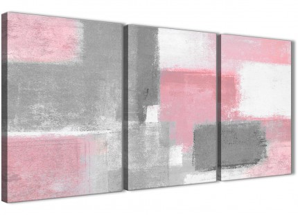 3 Piece Blush Pink Grey Painting Living Room Canvas Pictures Decor - Abstract 3378 - 126cm Set of Prints