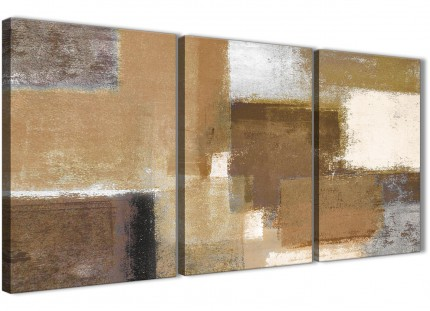 3 Piece Brown Cream Beige Painting Kitchen Canvas Pictures Decor - Abstract 3387 - 126cm Set of Prints