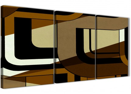 3 Piece Brown Cream Painting Bedroom Canvas Pictures Decor - Abstract 3413 - 126cm Set of Prints
