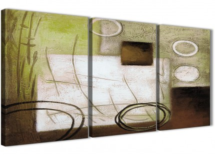 3 Piece Brown Green Painting Hallway Canvas Pictures Accessories - Abstract 3421 - 126cm Set of Prints