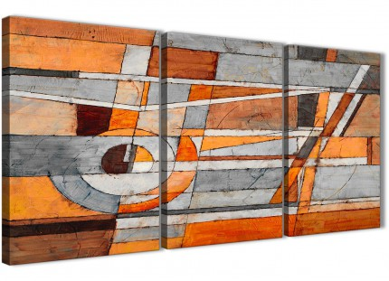 3 Piece Burnt Orange Grey Painting Dining Room Canvas Wall Art Accessories - Abstract 3405 - 126cm Set of Prints