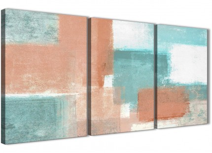 3 Piece Coral Turquoise Office Canvas Pictures Accessories - Abstract 3366 - 126cm Set of Prints