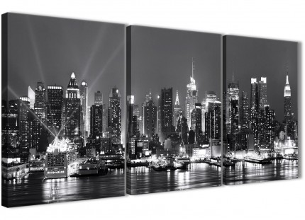 New York Skyline - 3 Piece Cityscape Canvas Wall Art - Black White and Grey - 3435 -126cm Set of Prints
