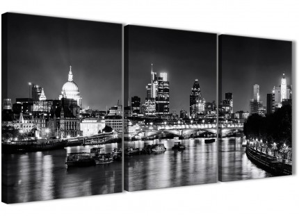 3 Panel River Thames London Skyline Cityscape Canvas Wall Art - 3430 Black White Grey 126cm Set of Prints