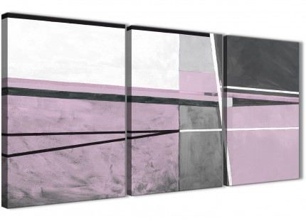 3 Piece Lilac Grey Painting Kitchen Canvas Wall Art Decor - Abstract 3395 - 126cm Set of Prints