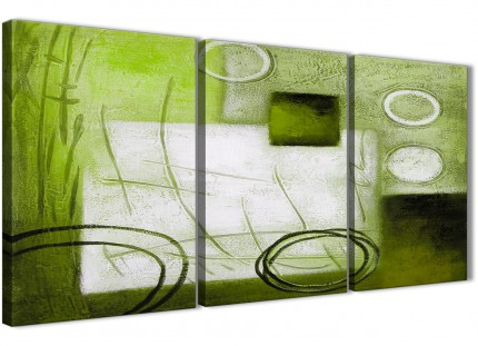 3 Panel Lime Green Painting Kitchen Canvas Wall Art Accessories - Abstract 3431 - 126cm Set of Prints