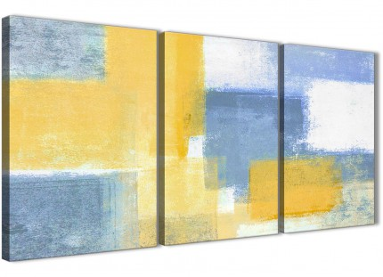 3 Piece Mustard Yellow Blue Dining Room Canvas Wall Art Decor - Abstract 3371 - 126cm Set of Prints