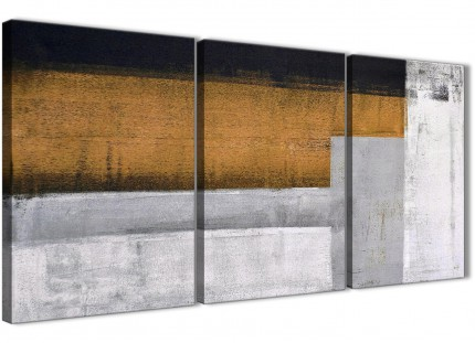3 Piece Orange Grey Painting Kitchen Canvas Wall Art Accessories - Abstract 3426 - 126cm Set of Prints