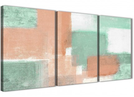 3 Panel Peach Mint Green Hallway Canvas Pictures Accessories - Abstract 3375 - 126cm Set of Prints