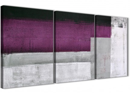 3 Piece Purple Grey Painting Dining Room Canvas Wall Art Decor - Abstract 3427 - 126cm Set of Prints