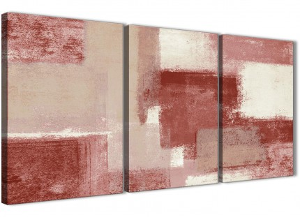 3 Panel Red and Cream Bedroom Canvas Pictures Decor - Abstract 3370 - 126cm Set of Prints
