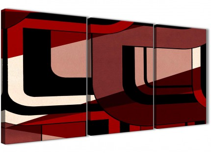 3 Piece Red Black Painting Bedroom Canvas Wall Art Accessories - Abstract 3410 - 126cm Set of Prints