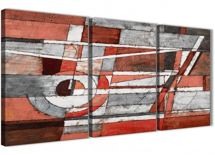 3 Piece Red Grey Painting Kitchen Canvas Wall Art Decor - Abstract 3401 - 126cm Set of Prints