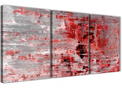 3 Piece Red Grey Painting Dining Room Canvas Wall Art Accessories - Abstract 3414 - 126cm Set of Prints