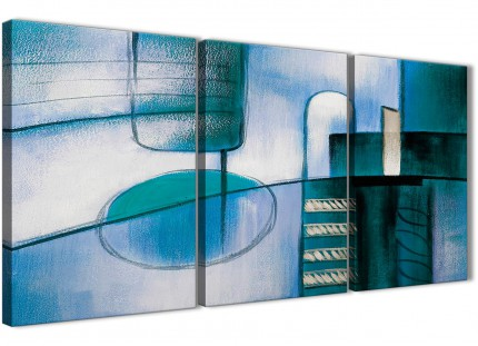 3 Piece Teal Cream Painting Kitchen Canvas Pictures Accessories - Abstract 3417 - 126cm Set of Prints