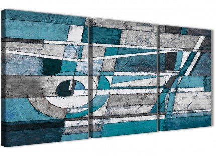 3 Part Teal Grey Painting Bedroom Canvas Pictures Decor - Abstract 3402 - 126cm Set of Prints