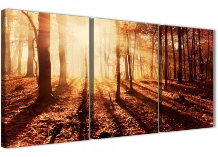 3 Piece Trees Canvas Wall Art Autumn Leaves Forest Scenic Landscapes - 3386 Orange 126cm Set of Prints