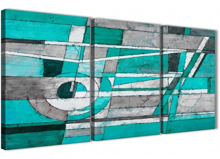 3 Piece Turquoise Grey Painting Living Room Canvas Pictures Accessories - Abstract 3403 - 126cm Set of Prints