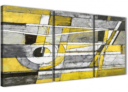 3 Panel Yellow Grey Painting Hallway Canvas Wall Art Accessories - Abstract 3400 - 126cm Set of Prints