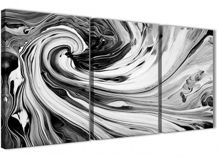 Black White Grey Swirls Modern Abstract Canvas Wall Art - Multi 3 Panel - 125cm Wide - 3354