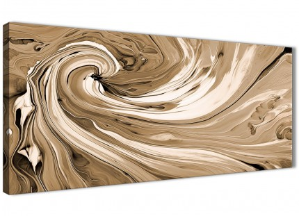 Brown Cream Swirls Modern Abstract Canvas Wall Art - 120cm Wide - 1349