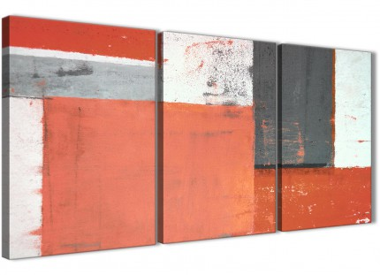 Coral Grey Abstract Painting Canvas Wall Art Pictures - Multi 3 Part - 125cm Wide - 3336
