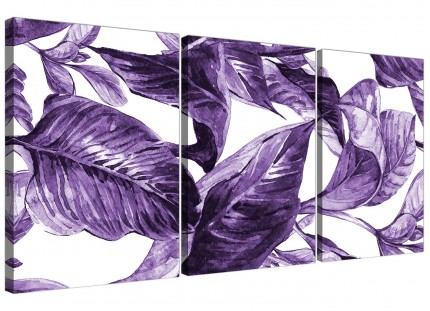 Dark Purple White Tropical Exotic Leaves Canvas Wall Art - Multi 3 Set - 3322