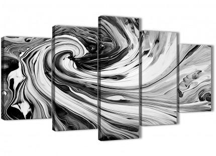 Extra Large Black White Grey Swirls Modern Abstract Canvas Wall Art - Multi 5 Part - 160cm Wide - 5354