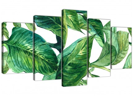 Extra Large Green Palm Tropical Banana Leaves Canvas Wall Art Print - Split 5 Set - 5324