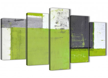Extra Large Lime Green Grey Abstract Painting Canvas Wall Art Print - Multi Set of 5 - 160cm Wide - 5339