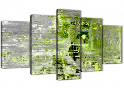 Extra Large Lime Green Grey Abstract Painting Wall Art Print Canvas - Multi 5 Set - 160cm Wide - 5360