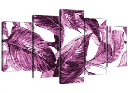 Extra Large Plum Aubergine White Tropical Leaves Canvas Wall Art - Split 5 Set - 5319