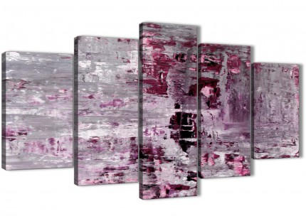 Extra Large Plum Grey Abstract Painting Wall Art Print Canvas - Split 5 Piece - 160cm Wide - 5359