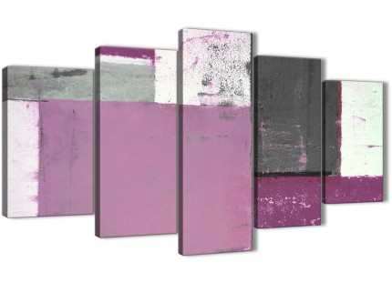 Extra Large Purple Grey Abstract Painting Canvas Wall Art Picture - Multi 5 Part - 160cm Wide - 5355