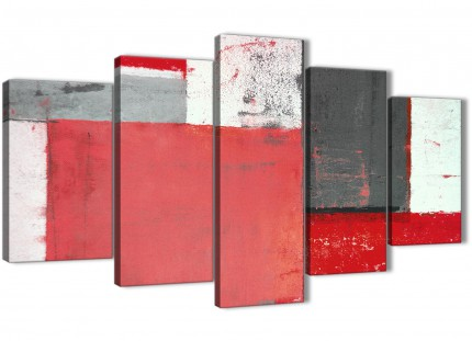 Extra Large Red Grey Abstract Painting Canvas Wall Art Split 5 Piece - 160cm Wide - 5343