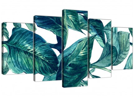 Extra Large Teal Blue Green Tropical Exotic Leaves Canvas Wall Art Print - Multi 5 Part - 5325