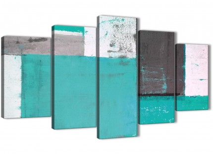 Extra Large Turquoise Grey Abstract Painting Canvas Wall Art Multi 5 Piece - 160cm Wide - 5345