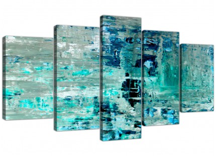 Extra Large Turquoise Teal Abstract Painting Wall Art Print Canvas - Split 5 Piece - 5333
