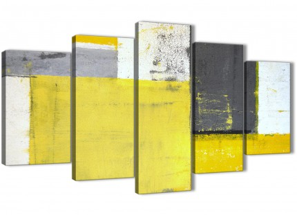 Extra Large Yellow Grey Abstract Painting Canvas Wall Art Print - Split 5 Set - 160cm Wide - 5346